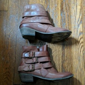 BP Genuine brown leather ankle boots, sz 8